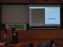 rin live-coding a game
